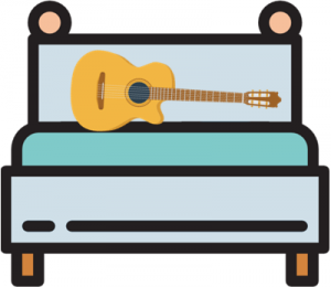 guitar on the bed