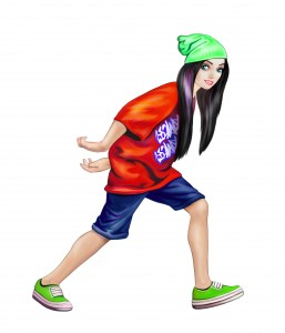 beautiful teenage girl dancing