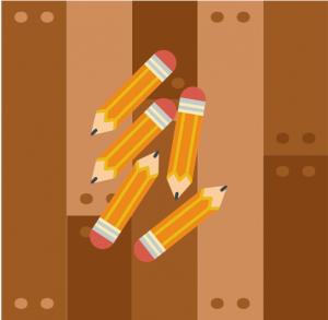 pencils on the floor